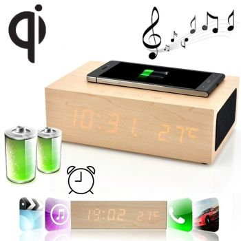 Cargador W2 Qi Wireless de madera con reloj despertado LED Clock + altavoces + termómetro para  iPhone-6 / iPhone-6-Plus / Note-4 / Galaxy S5 I9600