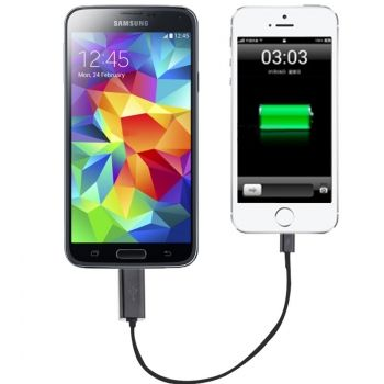 Cable Adaptador de Emergencia (25cm) de Micro USB a Lightning para iphone-6 & iPhone-6-Plus , iPhone5 & iPhone5C, iPad-Air