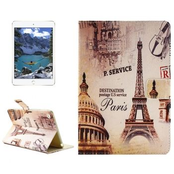 Eiffel Tower Pattern Horizontal Flip Leather Case con asa para iPad mini 4