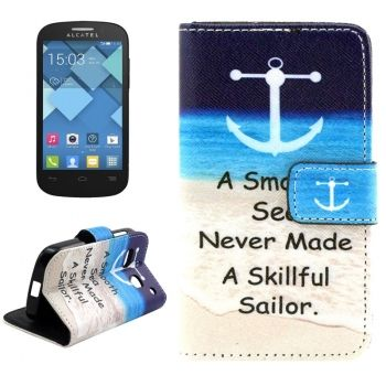 Funda piel CrossTex con soporte para Alcatel One Touch Pop C3